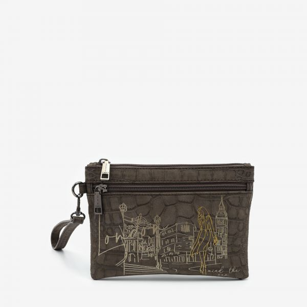 Pocket With Handle Small London Taupe
