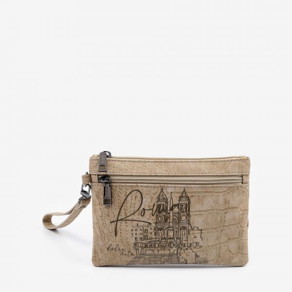 Pocket With Handle Small Roma Beige
