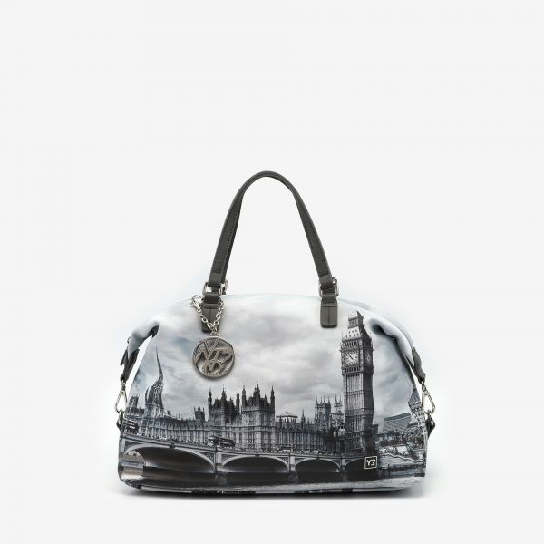 Tote Bag Double Handle Large London Grey