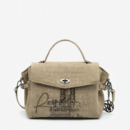 Flap Bag With Handle Roma Beige
